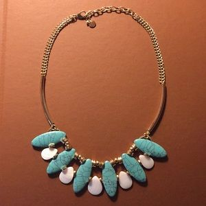 Talbots Turquoise Mother of Pearl Necklace New